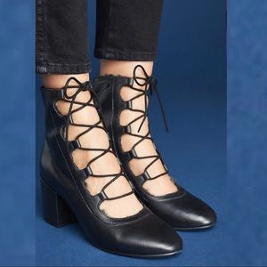 Seychelles Monologue Heel Ankle Boot Lace Up Black